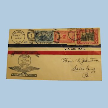 Vintage First Flight Air Mail Cover-Atlanta-Miami,  March 1, 1928