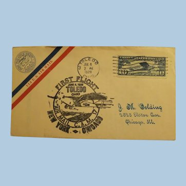 Vintage First Flight Cover June 4, 1928 Toledo Ohio to New York -Chicago