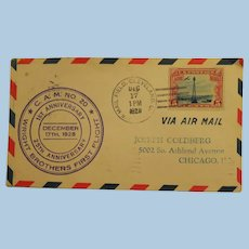 Vintage 1st. Anniversary to 25th Anniversary Dec. 17, 1928 Wright Brothers First Flight Cover