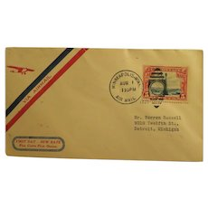 Vintage Cover of First Day-New Rate Air Mail Cover 1928