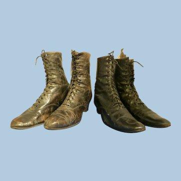 2 Pair Vintage leather Victorian Women Shoes