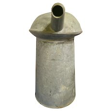 Vintage 4 Quart Liquid  Galvanized Oil Can with Spout.