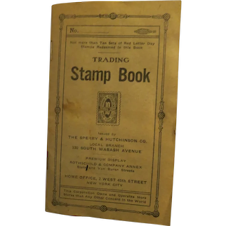 Vintage Trading Stamp Book Sperry & Hutchinson co. 1916  Early S &H Green Stamp Book