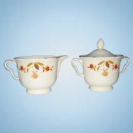 Hall's China Jewel Tea Autumn Leaf Lided Sugar Bowl & Creamer