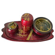 Vintage Japan red lacquer smoking set including tray, ashtray, lighter and cigarette holder canister - gold bamboo design