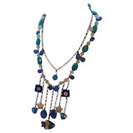 Karma NYC necklace with art glass and semi precious stones