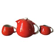 Vintage Hall's Superior Quality  Kitchenware USA tomato red and white teapot, sugar bowl and creamer