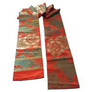 Old obi brocade with gold metallic threads - dragons, peonies, blossoms