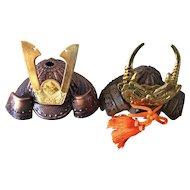 Vintage mini KABUTO Samurai armor helmets - two metal keepsakes