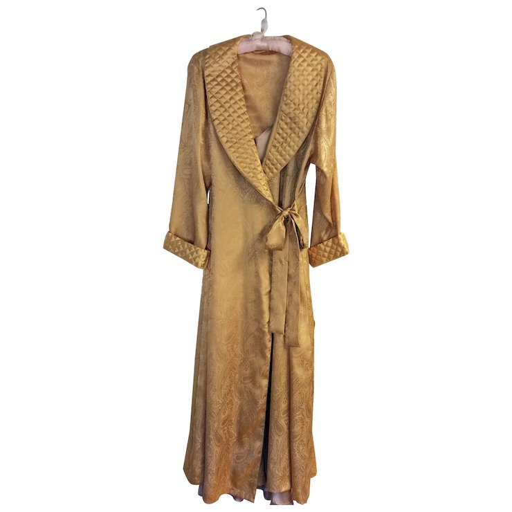 Vintage Victoria\'s Secret full length gold paisley dressing gown and ...