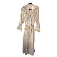 Winter Silks full length cream colored robe sz L & Jones NY pink negligee sz XL