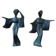 Pair of mid-century cast iron Sado Island festival dancers - Japan