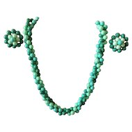 Vintage West Germany turquoise shades plastic beads necklace and clip-on earrings