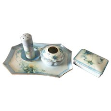Limoges France vanity set  including tray, hatpin holder, hair catcher and box