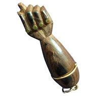 Dark wood Figa fist pendant with brass nails - good luck