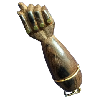 Dark wood Figa fist pendant with brass nails - good luck