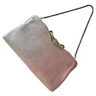Vintage Japan kimono purse or evening bag clutch - light pink with collapsible handle and mirror
