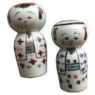 Vintage porcelain kokeshi salt and pepper shakers - girl and boy couple