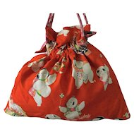 Vintage kimono fabric drawstring bag KINCHAKU with obijime strap - orange print with babies