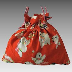 Vintage kimono fabric drawstring bag with obijime strap - orange print with babies