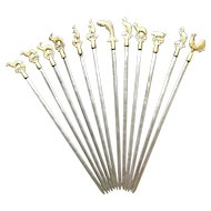 Turkish skewers - 12 metal with brass animals