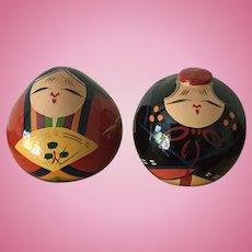 Vintage lacquerware Japan Hina Matsuri emperor and empress dolls in original wood box from Yamaguchi Prefecture