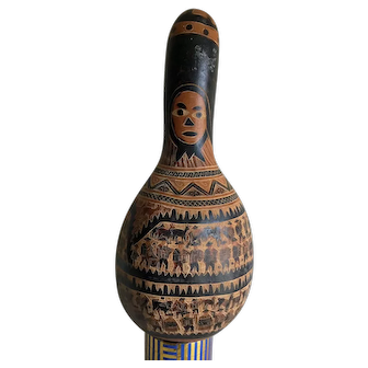 Large Peruvian gourd carved with images and stories