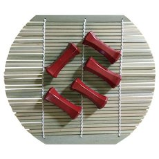 Vintage chopstick rests HASHIOKI lacquered wood - deep rust red - 5 shaped like geisha pillows