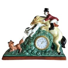 Fitz & Floyd fox hunt small mantle clock dated 1991
