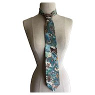 Oscar de la Renta necktie with fox hunt scenes - blue and brown