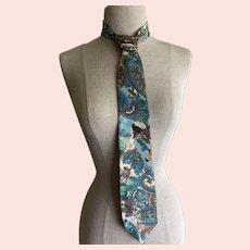Oscar de la Renta necktie with fox hunt scenes - blue and brown