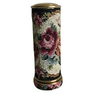 Vintage petit point lipstick holder - roses