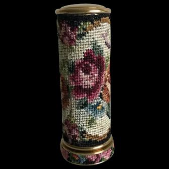 Vintage petit point lipstick holder - roses