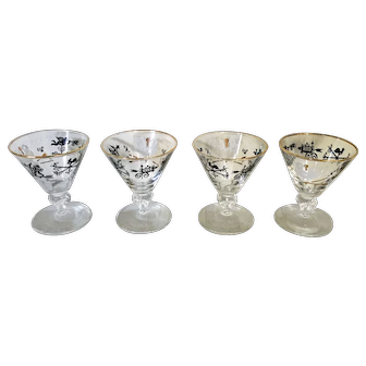 Set of 4 MCM Libbey Curio short-stem cocktail cordial glasses with weathervanes, roosters, pub signs and gold rims