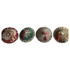 4 Vintage cigarette wrapper origami parasols from a WWII Japanese American Internment camp
