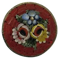 Vintage micromosaic brooch pin Italy - red circle with roses and other flowers