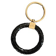 Beautiful vintage Whiting & Davis key ring in original box - black mesh circle and gold