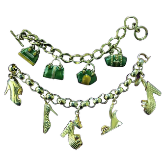 2 vintage charm bracelets:  Salvatore Ferragamo made in Italy shoes and unsigned green enamel purses