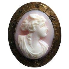Vintage shell cameo brooch