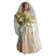 Beautiful paper bride doll from the 1930s