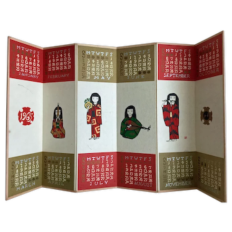 Vintage new old stock table top Byobu folding screen calendar 1965 with kimono lady musicians - will repeat dates in 2021