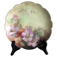Limoges France yellow dinner plate with gold rim, scalloped edge - wild flowers