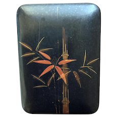 Old black lacquer box made in Japan - for cigarettes or cards or trinkets - bamboo design