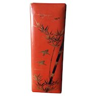 Large vintage urushi nuri lacquer ware box with bamboo and sparrows on lid