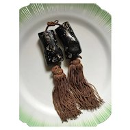 Vintage Japanese scroll weights - brown tassels with large black coral-like beads