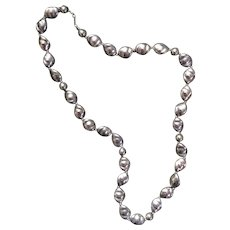 Vintage signed Dauplaise silver bead necklace