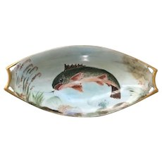 Vintage Hutschenreuther Selb Bavaria fish plate with cut out design handles