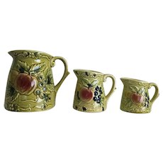 Vintage made in Japan measuring cup pitchers with green harvest design - red apples