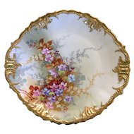 Limoges Wheelock France large dinner plate or serving platter with gold rim and spring blossoms