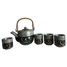 Vintage Somayaki pottery double walled green teapot and 6 cups